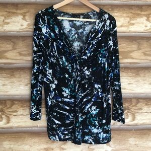 Fever abstract print 3/4 sleeve v-neck top size L